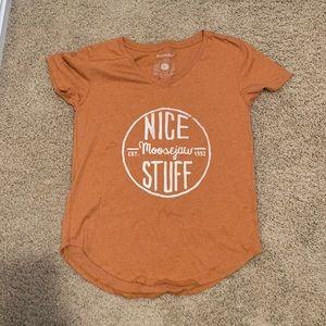 Moosejaw Orange V Neck T-shirt